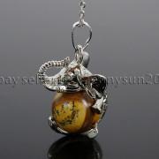 Natural-Gemstone-Round-Ball-Reiki-Chakra-Healing-Elephant-Pendant-Necklace-Beads-262733039975-ed4a