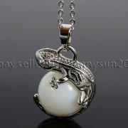 Natural-Gemstone-Round-Ball-Reiki-Chakra-Healing-Lizard-Pendant-Necklace-Beads-262739138496-09bf