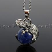Natural-Gemstone-Round-Ball-Reiki-Chakra-Healing-Lizard-Pendant-Necklace-Beads-262739138496-1c65