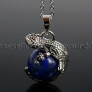 Natural-Gemstone-Round-Ball-Reiki-Chakra-Healing-Lizard-Pendant-Necklace-Beads-262739138496-34a4