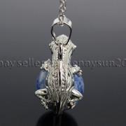 Natural-Gemstone-Round-Ball-Reiki-Chakra-Healing-Lizard-Pendant-Necklace-Beads-262739138496-4