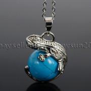 Natural-Gemstone-Round-Ball-Reiki-Chakra-Healing-Lizard-Pendant-Necklace-Beads-262739138496-4c67