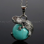 Natural-Gemstone-Round-Ball-Reiki-Chakra-Healing-Lizard-Pendant-Necklace-Beads-262739138496-5336