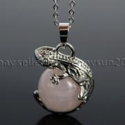 Natural-Gemstone-Round-Ball-Reiki-Chakra-Healing-Lizard-Pendant-Necklace-Beads-262739138496-5784
