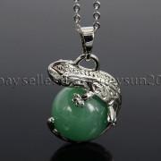 Natural-Gemstone-Round-Ball-Reiki-Chakra-Healing-Lizard-Pendant-Necklace-Beads-262739138496-5f02