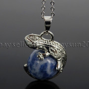 Natural-Gemstone-Round-Ball-Reiki-Chakra-Healing-Lizard-Pendant-Necklace-Beads-262739138496-6251