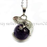 Natural-Gemstone-Round-Ball-Reiki-Chakra-Healing-Lizard-Pendant-Necklace-Beads-262739138496-63f6