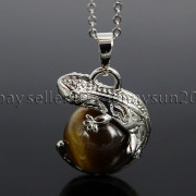 Natural-Gemstone-Round-Ball-Reiki-Chakra-Healing-Lizard-Pendant-Necklace-Beads-262739138496-7559