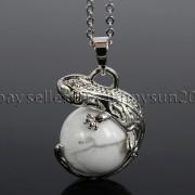 Natural-Gemstone-Round-Ball-Reiki-Chakra-Healing-Lizard-Pendant-Necklace-Beads-262739138496-881e