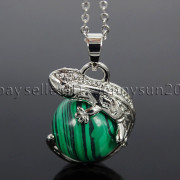 Natural-Gemstone-Round-Ball-Reiki-Chakra-Healing-Lizard-Pendant-Necklace-Beads-262739138496-8b60