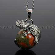 Natural-Gemstone-Round-Ball-Reiki-Chakra-Healing-Lizard-Pendant-Necklace-Beads-262739138496-dd0f