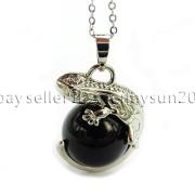 Natural-Gemstone-Round-Ball-Reiki-Chakra-Healing-Lizard-Pendant-Necklace-Beads-262739138496-e4fd