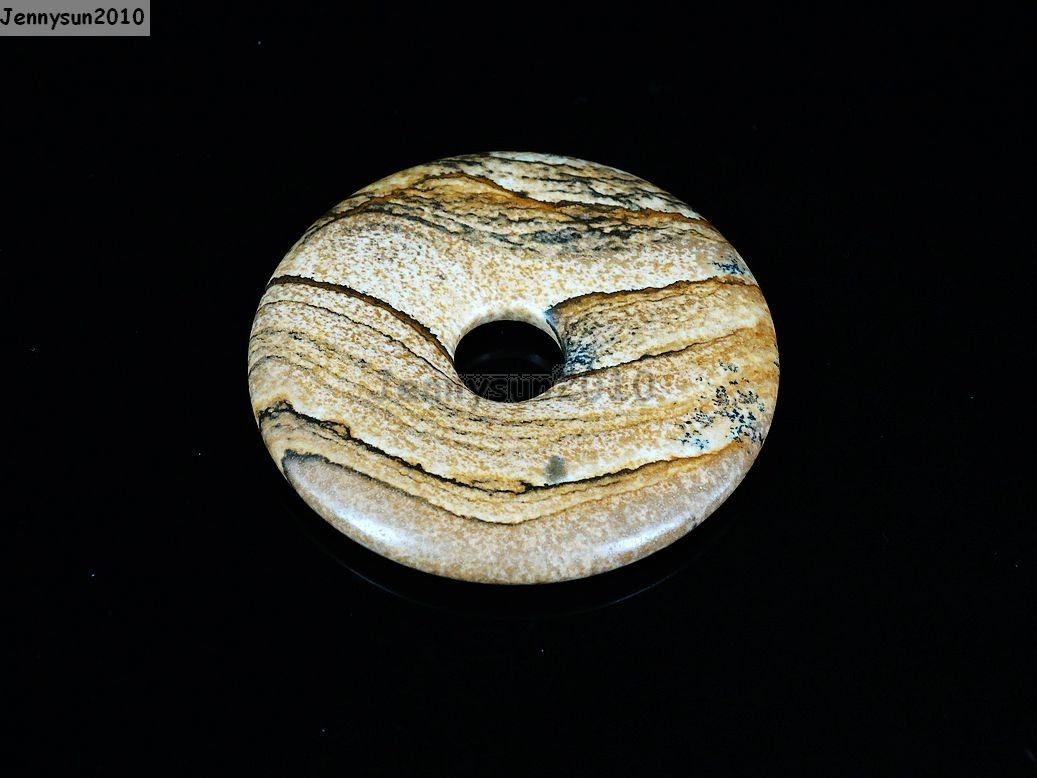 Natural Gemstone Round Donut Ring Pendant Beads For