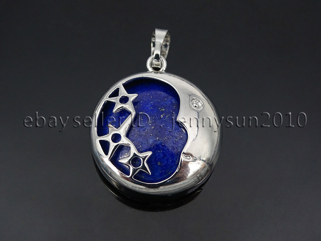Natural gemstone round silver plated stars and moon pendant charm natural gemstone round silver plated stars and moon aloadofball Image collections