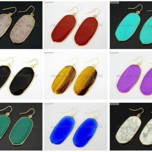 Natural-Gemstone-Sliced-Healing-Reiki-Chakra-Pendant-18k-Gold-Plated-Earrings-262095369860
