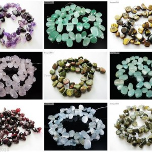 Natural-Gemstones-Freeform-Flat-Teardrop-Drop-Barpque-Beads-16-Jewelry-Crafts-370894711712