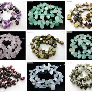 Natural-Gemstones-Freeform-Flat-Teardrop-Drop-Barpque-Beads-16-Jewelry-Crafts-370894711712