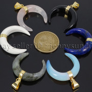 Natural-Gemstones-Gold-Plated-Crescent-Moon-Pendant-Charm-Beads-Healing-282290274301-3