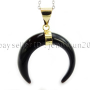 Natural-Gemstones-Gold-Plated-Crescent-Moon-Pendant-Charm-Beads-Healing-282290274301-63b4