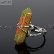 Natural-Gemstones-Hexagonal-Pointed-Reiki-Chakra-Beads-Adjustable-Ring-Healing-371063374753-364d