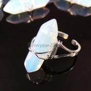 Natural-Gemstones-Hexagonal-Pointed-Reiki-Chakra-Beads-Adjustable-Ring-Healing-371063374753-a101