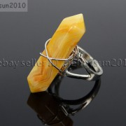 Natural-Gemstones-Hexagonal-Pointed-Reiki-Chakra-Beads-Adjustable-Ring-Healing-371063374753-c82f
