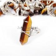 Natural-Gemstones-Hexagonal-Pointed-Reiki-Chakra-Beads-Adjustable-Ring-Healing-371063374753-e012