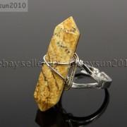 Natural-Gemstones-Hexagonal-Pointed-Reiki-Chakra-Beads-Adjustable-Ring-Healing-371063374753-f492