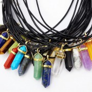Natural-Gemstones-Hexagonal-Pointed-Reiki-Chakra-Gold-Pendant-Leather-Necklace-261637690675