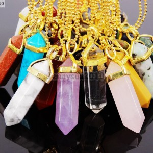 Natural-Gemstones-Hexagonal-Pointed-Reiki-Chakra-Pendant-18K-Gold-Chain-Necklace-261633980463