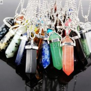 Natural-Gemstones-Hexagonal-Pointed-Reiki-Chakra-Pendant-18K-Silver-Necklace-371161184260-2