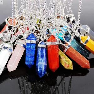 Natural-Gemstones-Hexagonal-Pointed-Reiki-Chakra-Pendant-18K-Silver-Necklace-371161184260