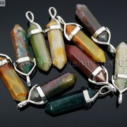Natural-Gemstones-Hexagonal-Pointed-Reiki-Chakra-Pendant-Real-Leather-Necklace-371097486278-2d14
