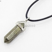 Natural-Gemstones-Hexagonal-Pointed-Reiki-Chakra-Pendant-Real-Leather-Necklace-371097486278-4792