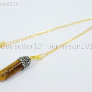 Natural-Gemstones-Hexagonal-Pointed-Reiki-Chakra-Rhinestones-Pendant-Necklace-371488074628-0156
