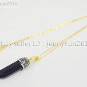 Natural-Gemstones-Hexagonal-Pointed-Reiki-Chakra-Rhinestones-Pendant-Necklace-371488074628-0907