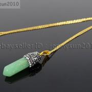 Natural-Gemstones-Hexagonal-Pointed-Reiki-Chakra-Rhinestones-Pendant-Necklace-371488074628-49ae