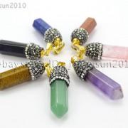 Natural-Gemstones-Hexagonal-Pointed-Reiki-Chakra-Rhinestones-Pendant-Necklace-371488074628-7