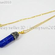 Natural-Gemstones-Hexagonal-Pointed-Reiki-Chakra-Rhinestones-Pendant-Necklace-371488074628-ad0e