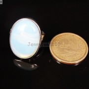 Natural-Gemstones-Oval-Cabochon-Flat-Back-Bead-Adjustable-Silver-Plated-Ring-261496534839-3