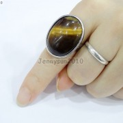 Natural-Gemstones-Oval-Cabochon-Flat-Back-Bead-Adjustable-Silver-Plated-Ring-261496534839-4