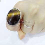 Natural-Gemstones-Oval-Cabochon-Flat-Back-Bead-Adjustable-Silver-Plated-Ring-261496534839-5