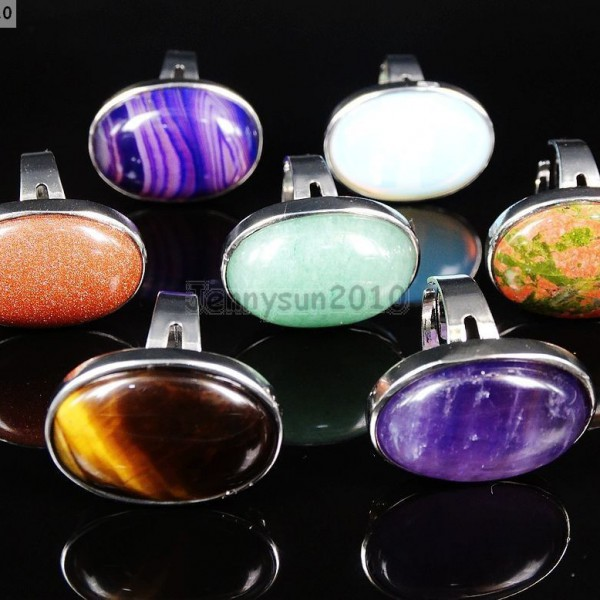 Natural-Gemstones-Oval-Cabochon-Flat-Back-Bead-Adjustable-Silver-Plated-Ring-261496534839