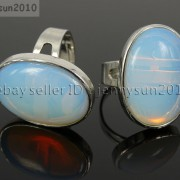 Natural-Gemstones-Oval-Cabochon-Flat-Back-Bead-Adjustable-Silver-Plated-Ring-261496534839-72f2