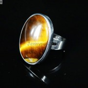 Natural-Gemstones-Oval-Cabochon-Flat-Back-Bead-Adjustable-Silver-Plated-Ring-261496534839-7790