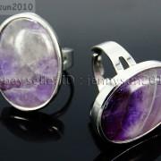 Natural-Gemstones-Oval-Cabochon-Flat-Back-Bead-Adjustable-Silver-Plated-Ring-261496534839-8ea0