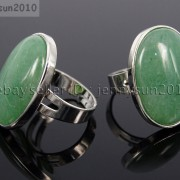 Natural-Gemstones-Oval-Cabochon-Flat-Back-Bead-Adjustable-Silver-Plated-Ring-261496534839-ac38