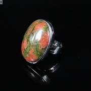 Natural-Gemstones-Oval-Cabochon-Flat-Back-Bead-Adjustable-Silver-Plated-Ring-261496534839-e092