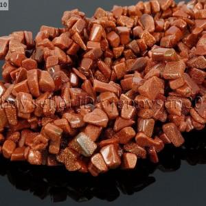 Natural-Gold-Sand-Gemstone-5-8mm-Chip-Nugget-Beads-35-For-Bracelet-or-Necklace-370878118209