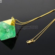 Natural-Green-Fluorite-Gemstone-Oval-Octagonal-Pendant-Charm-Beads-Necklace-Gold-261880887542-1cc2